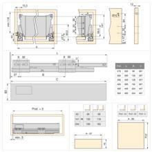 Emuca Kit cajón de cocina Vantage-Q, altura 141 mm, prof. 500 mm, con barandillas, cierre suave, Acero, Blanco - Ítem3
