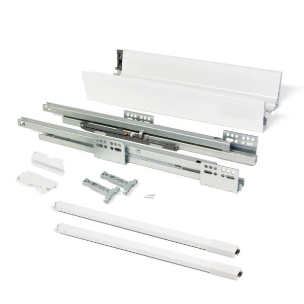 Emuca Kit cajón de cocina Vantage-Q, altura 141 mm, prof. 500 mm, con barandillas, cierre suave, Acero, Blanco