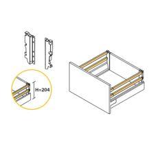 Emuca Kit cajón de cocina Vantage-Q, altura 204 mm, prof. 350 mm, con barandillas, cierre suave, Acero, Blanco - Ítem2