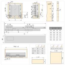 Emuca Kit cajón de cocina Vantage-Q, altura 204 mm, prof. 350 mm, con barandillas, cierre suave, Acero, Blanco - Ítem3
