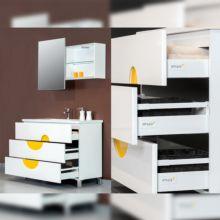 Emuca Kit cajón de cocina Vantage-Q, altura 204 mm, prof. 350 mm, con barandillas, cierre suave, Acero, Blanco - Ítem4