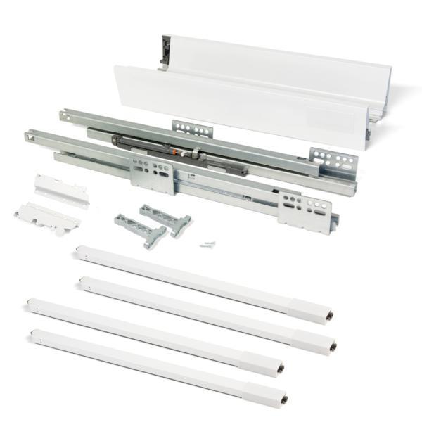 Emuca Kit cajón de cocina Vantage-Q, altura 204 mm, prof. 350 mm, con barandillas, cierre suave, Acero, Blanco