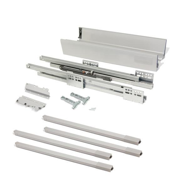 Kit de cajón Vantage-Q Emuca altura 204 mm y profundidad 350 mm con barandillas en color gris metalizado