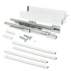 Emuca Kit cajón de cocina Vantage-Q, altura 204 mm, prof. 500 mm, con barandillas, cierre suave, Acero, Blanco - Ítem