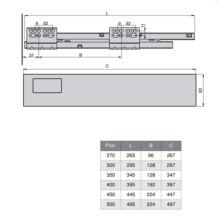 Emuca Kit cajón de cocina Vantage-Q, altura 204 mm, prof. 500 mm, con barandillas, cierre suave, Acero, Gris metalizado - Ítem1