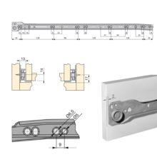 Lote de 5 juegos de guías de rodillos T30 Emuca para cajón con extracción parcial L 550 mm en color aluminio - Ítem1