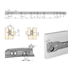 Lote de 5 juegos de guías de rodillos T30 Emuca para cajón con extracción parcial L 600 mm en color aluminio - Ítem1