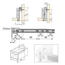 Lote de 10 kits de cajón Ultrabox Emuca altura 86 mm y profundidad 270 mm en color gris metalizado - Ítem1