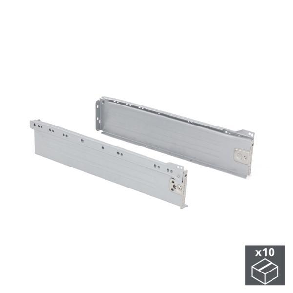 Lote de 10 kits de cajón Ultrabox Emuca altura 86 mm y profundidad 270 mm en color gris metalizado