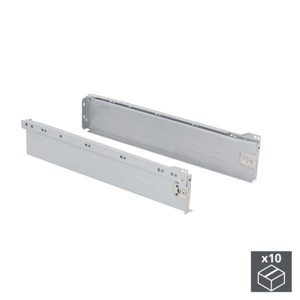 Lote de 10 kits de cajón Ultrabox Emuca altura 86 mm y profundidad 400 mm en color gris metalizado