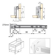 Lote de 10 kits de cajón Ultrabox Emuca altura 118 mm y profundidad 270 mm en color gris metalizado - Ítem1
