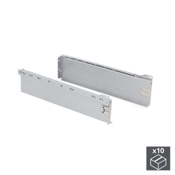 Lote de 10 kits de cajón Ultrabox Emuca altura 118 mm y profundidad 270 mm en color gris metalizado