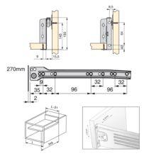 Lote de 10 kits de cajón Ultrabox Emuca altura 150 mm y profundidad 270 mm en color gris metalizado - Ítem1