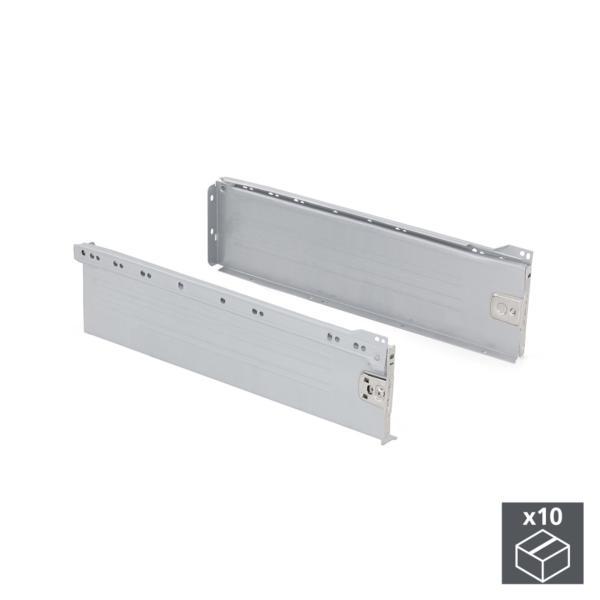 Lote de 10 kits de cajón Ultrabox Emuca altura 150 mm y profundidad 270 mm en color gris metalizado