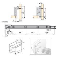 Lote de 10 kits de cajón Ultrabox Emuca altura 150 mm y profundidad 400 mm en color gris metalizado - Ítem1