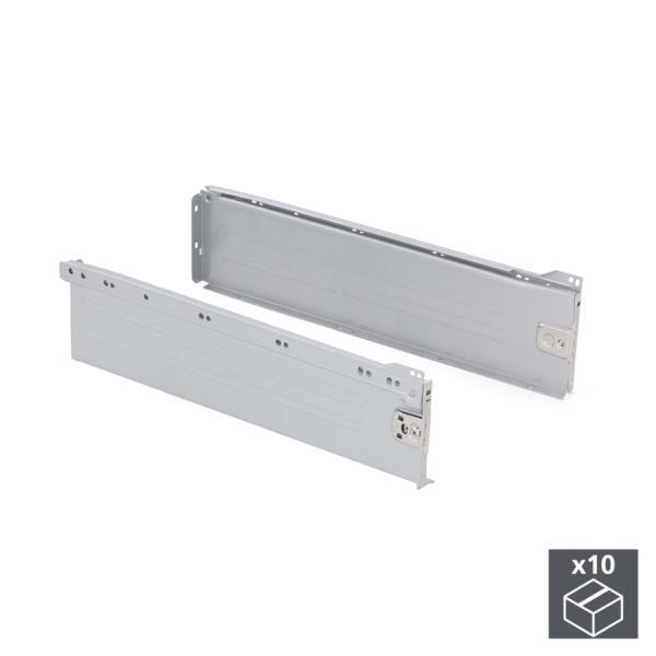 Lote de 10 kits de cajón Ultrabox Emuca altura 150 mm y profundidad 400 mm en color gris metalizado