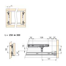 Kit de cierre suave para cajón con guías de ruedas T30 Emuca L 250 - 300 mm - Ítem1