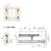 Kit de cierre suave para cajón con guías de ruedas T30 Emuca L 350 - 800 mm - Ítem1