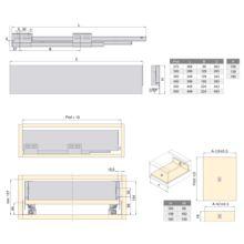 Emuca Kit cajón de cocina Concept, altura 105 mm, prof. 300 mm, cierre suave, Acero, Blanco - Ítem2