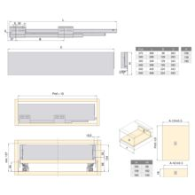 Emuca Kit cajón de cocina Concept, altura 105 mm, prof. 400 mm, cierre suave, Acero, Blanco - Ítem2