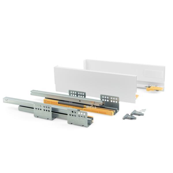 Emuca Kit cajón de cocina Concept, altura 105 mm, prof. 400 mm, cierre suave, Acero, Blanco