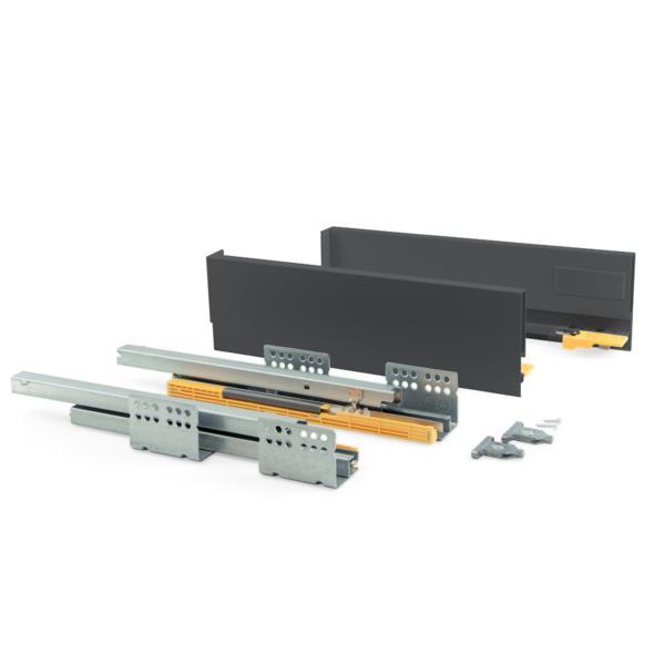 Kit de cajón Concept Emuca altura 105 mm y profundidad 500 mm en color gris antracita