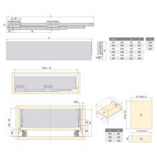 Emuca Kit cajón de cocina Concept, altura 138 mm, prof. 350 mm, cierre suave, Acero, Gris antracita - Ítem3
