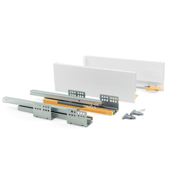 Kit de cajón Concept Emuca altura 138 mm y profundidad 450 mm en color blanco