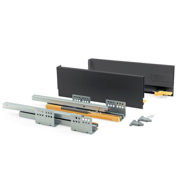 Kit de cajón Concept Emuca altura 138 mm y profundidad 500 mm en color gris antracita