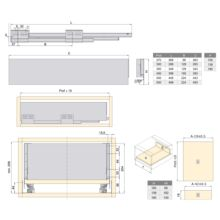 Emuca Kit cajón de cocina Concept, altura 185 mm, prof. 400 mm, cierre suave, Acero, Blanco - Ítem3