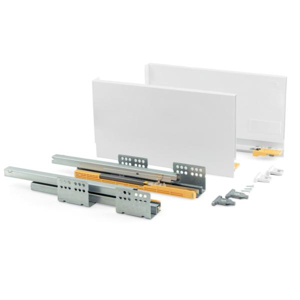 Emuca Kit cajón de cocina Concept, altura 185 mm, prof. 400 mm, cierre suave, Acero, Blanco