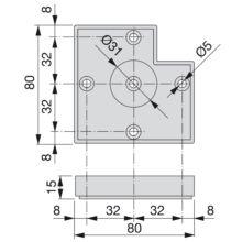Pie para mueble Alumix7 Emuca altura 15 mm en gris metalizado - Ítem1