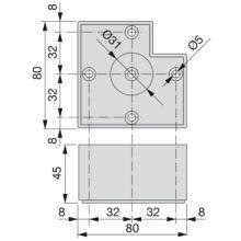 Pie para mueble Alumix7 Emuca altura 45 mm en gris metalizado - Ítem1