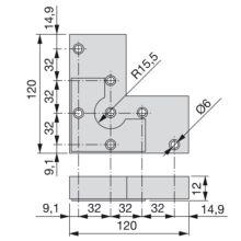 Pie Alumix8 Emuca para mueble, altura 12 mm en gris metalizado - Ítem1