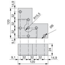 Pie Alumix8 Emuca para mueble, altura 24 mm en gris metalizado - Ítem1