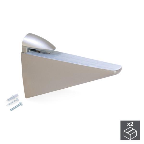 Lote de 2 soportes Halcón Emuca para estante de madera o cristal en acabado pintado níquel mate