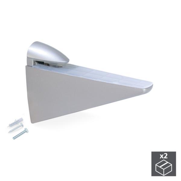 Lote de 2 soportes Halcón Emuca para estante de madera o cristal en acabado gris metalizado