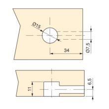 Kit de excéntricas T15 Emuca con pernos D6 para tablero 13mm - Ítem1