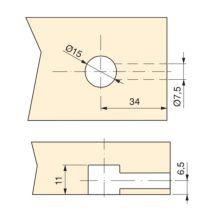 Emuca Excéntrica + perno y tuerca M6, D.15 mm, tablero 13 mm, Zamak y Acero, Blanco, 20 ud. - Ítem2