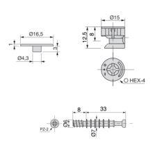 Emuca Excéntrica + perno, D.15 mm, tablero 16 mm, Zamak y Acero, Blanco, 20 ud. - Ítem2