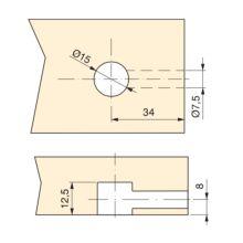 Emuca Excéntrica + perno, D.15 mm, tablero 16 mm, Zamak y Acero, Blanco, 20 ud. - Ítem3
