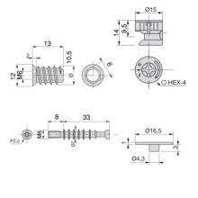 Kit de excéntricas T15 Emuca con pernos y tuercas M 6mm para tablero 19mm - Ítem2