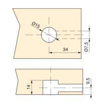 Emuca Excéntrica + perno y tuerca M6, D.15 mm, tablero 19 mm, Zamak y Acero, Blanco, 20 ud. - Ítem3