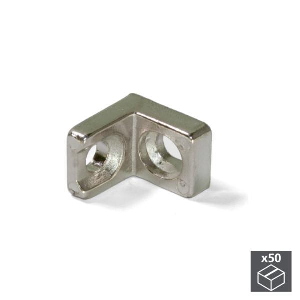 Emuca Escuadra de unión para muebles, 20,5 x 20,7 mm, 2 agujeros, Acero, Niquelado, 50 ud.