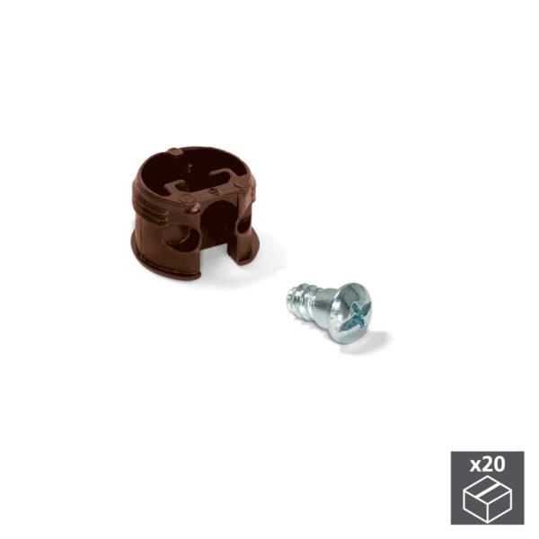 Emuca Enganche de unión para estantes, D. 20 mm, 13 mm, + Pernos D. 4,2 mm, Plástico y acero, Marrón, 20 ud.
