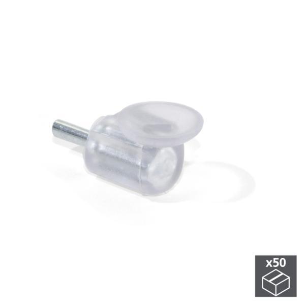 Lote de 50 soportes 557 Emuca D. 5 mm para estante de cristal