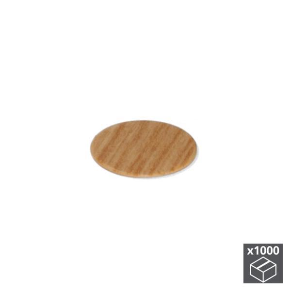 Lote de 1.000 tapas adhesivas Emuca D. 13 mm en acabado efecto roble