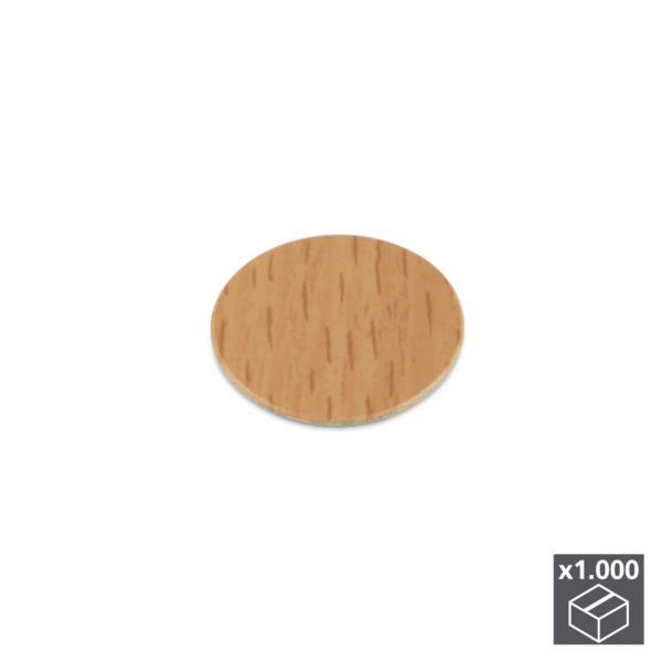 Lote de 1.000 tapas adhesivas Emuca D. 13 mm en acabado efecto haya