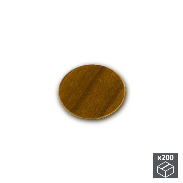 Lote de 200 tapas adhesivas Emuca D. 13 mm en acabado marrón