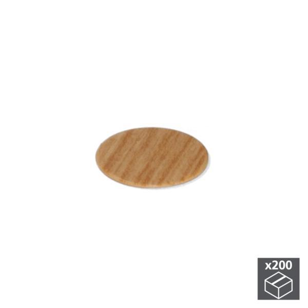 Lote de 200 tapas adhesivas Emuca D. 13 mm en acabado efecto roble
